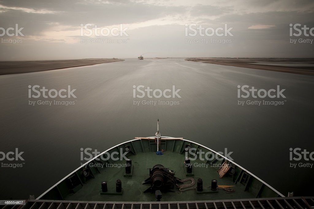 Ships transit through Suez Canal stock photo