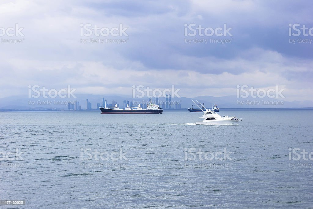 Ships under clouds royalty-free stock photo