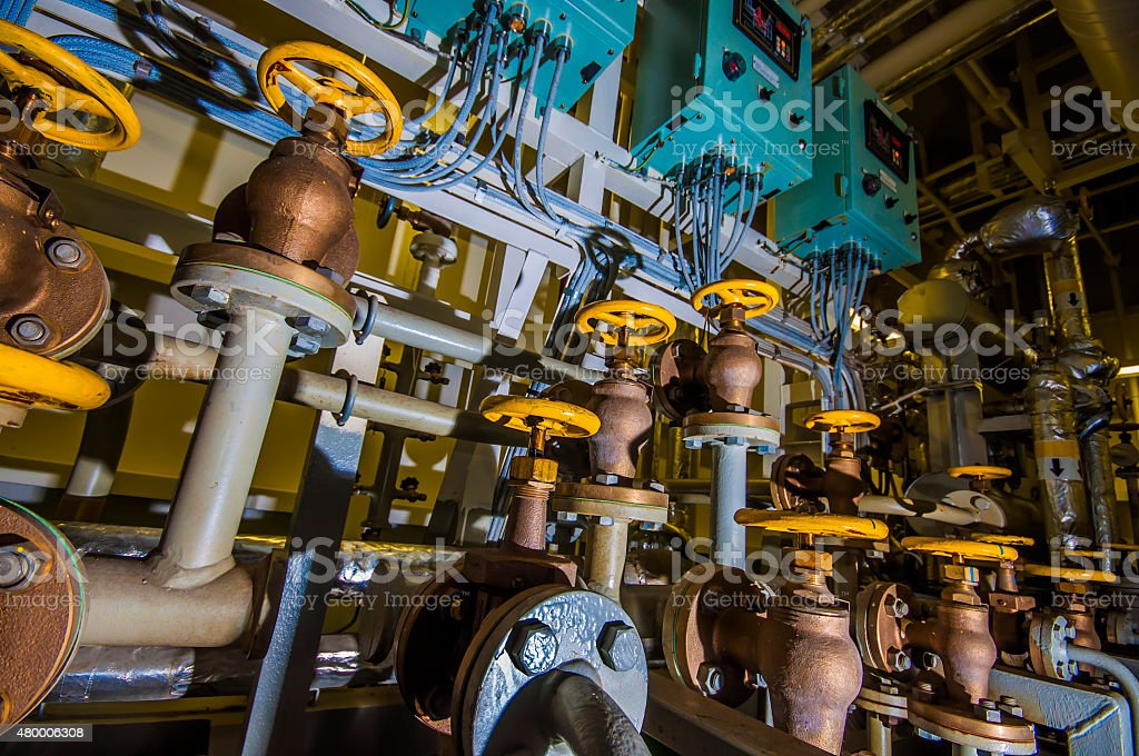 Ships valves, main engine stock photo