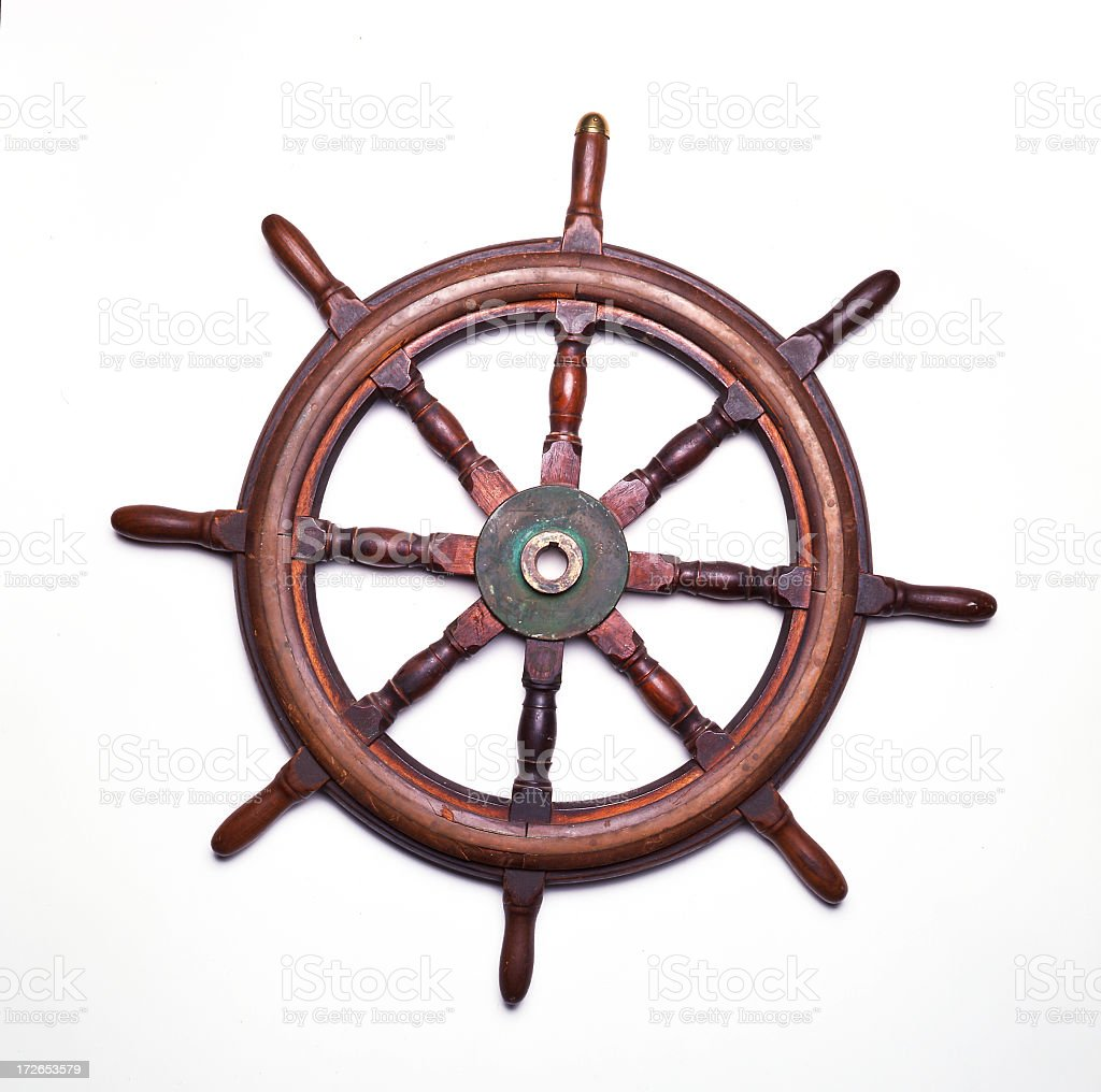 Ship's wheel isolated on white background stock photo