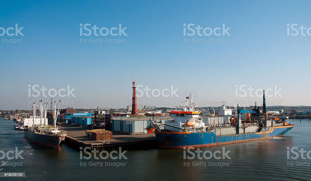 Ships with light house stock photo