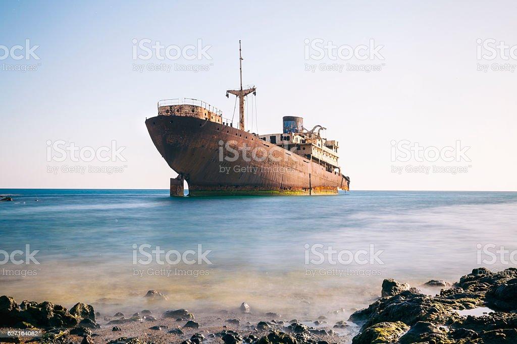 Shipwreck at Arrecife, Lanzarote stock photo