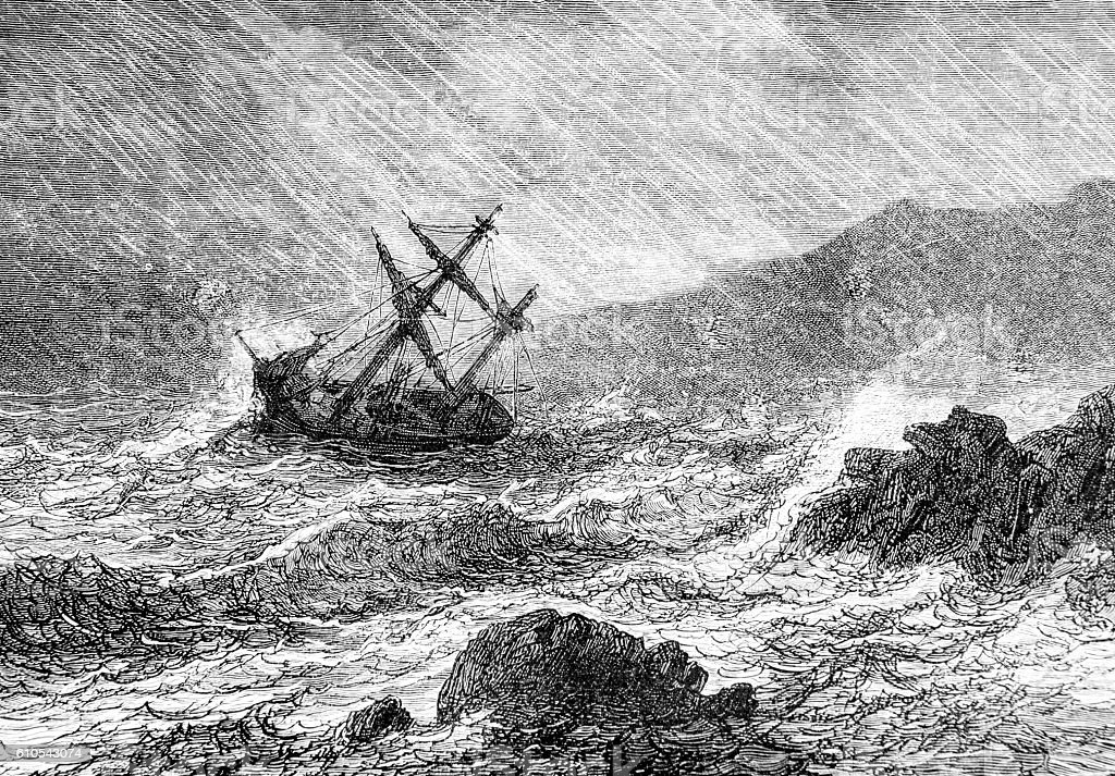 Shipwreck at sea Hand drawn illustration stock photo