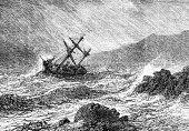 Shipwreck at sea Hand drawn illustration