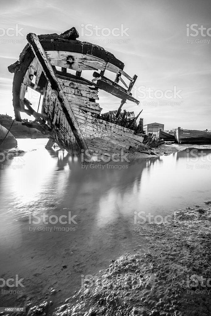 Shipwreck at Sunset stock photo