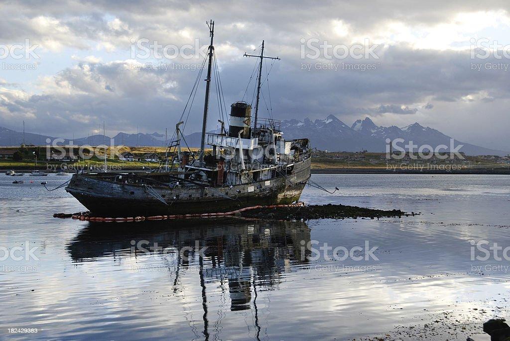 Shipwreck at Ushuaia Bay stock photo