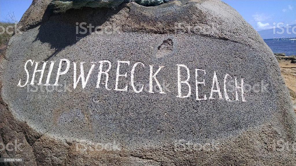 Shipwreck Beach Boulder Lanai Hawaii stock photo