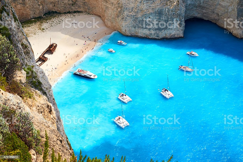 Shipwreck Beach On Zakynthos stock photo