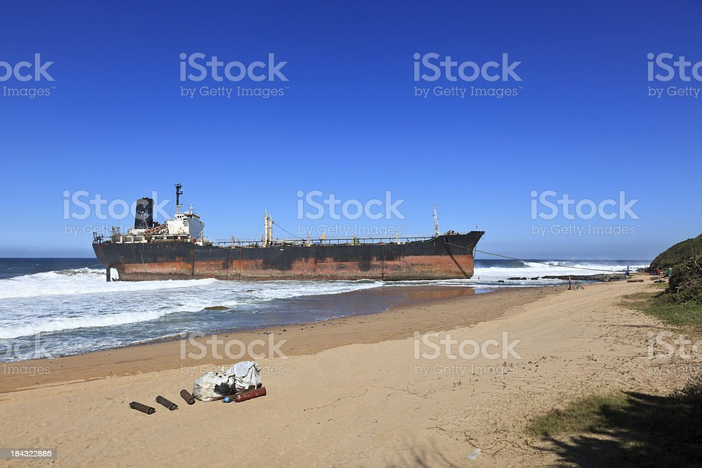 Shipwreck cargo ship. royalty-free stock photo
