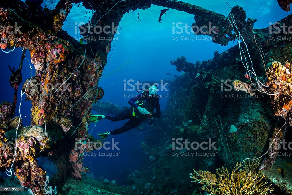 Shipwreck dive - Palau, Micronesia stock photo