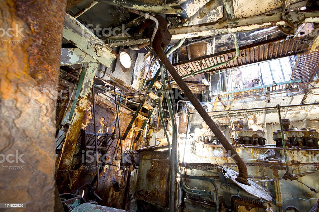 Shipwreck engine room royalty-free stock photo