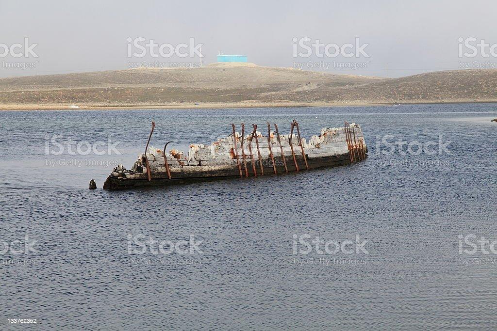 "Shipwreck hull of Amundsen's ""Maud"" in Cambridge Bay, Nunavut, Canada. stock photo"
