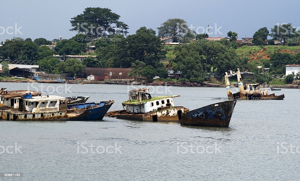 Shipwreck in Africa stock photo