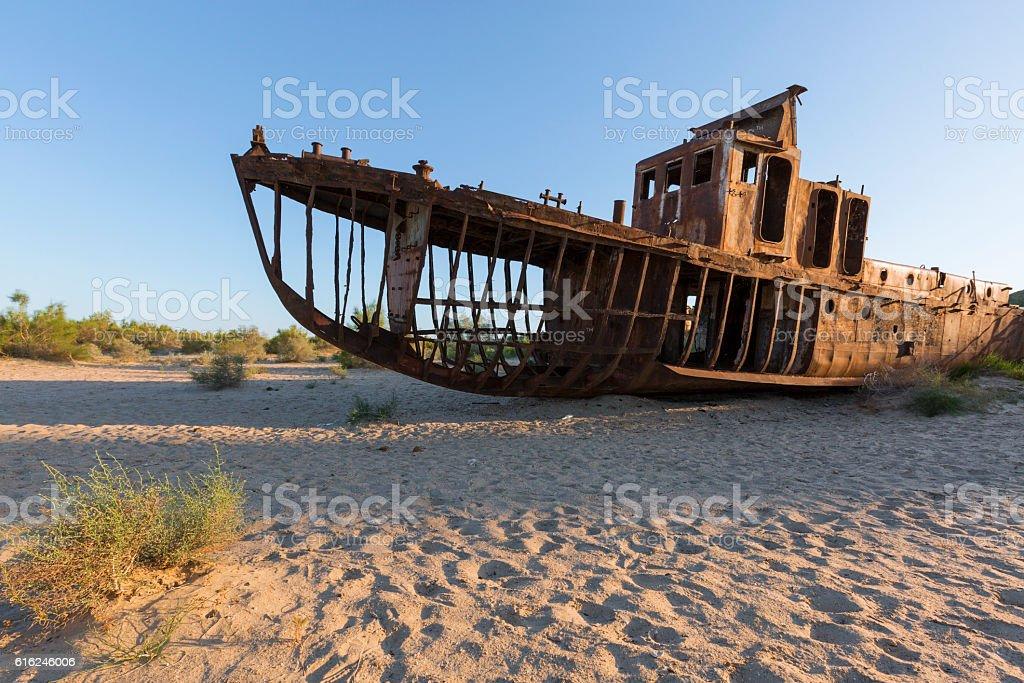 Shipwreck in Aral Sea stock photo