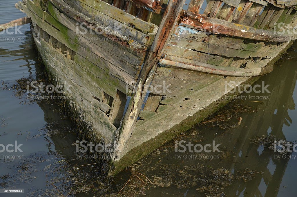 Shipwreck in Brittany. stock photo