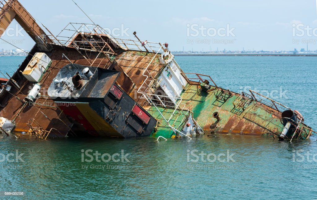 Shipwreck in mersin port,Turkey stock photo