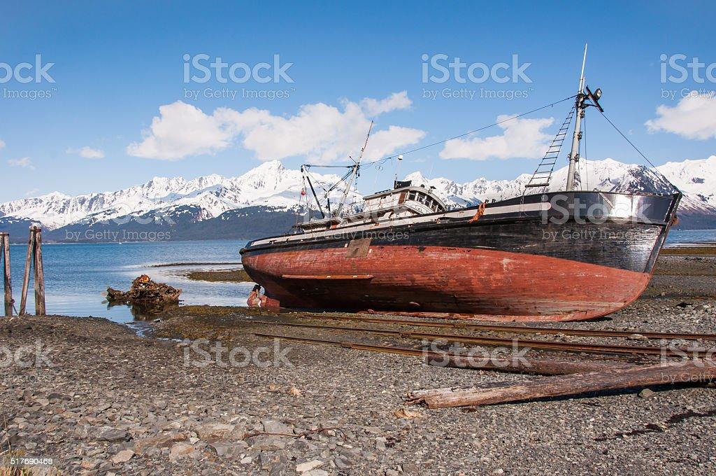 Shipwreck in Seward Alaska stock photo