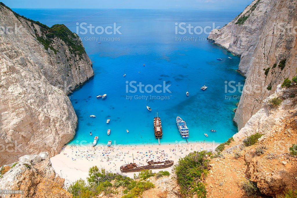 Shipwreck in the famous Navagio Bay, Zakynthos island, Greece stock photo
