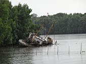 Shipwreck in the rain and high tide