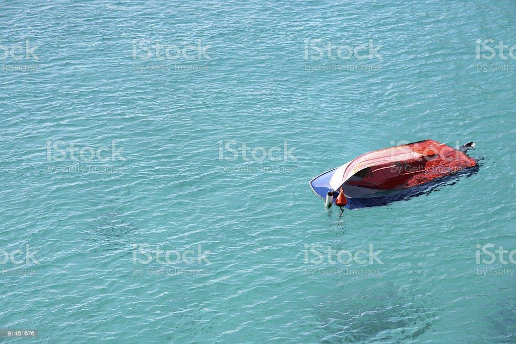 Shipwreck in the sea stock photo