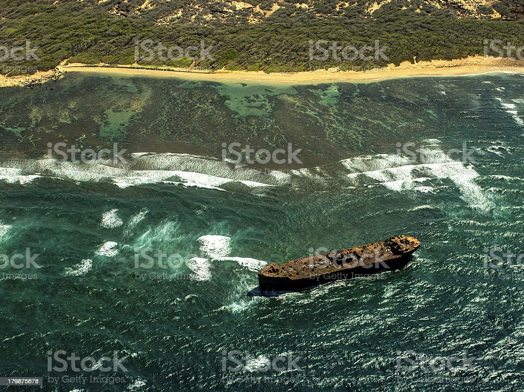 Shipwreck, Lanai, Hawaii stock photo