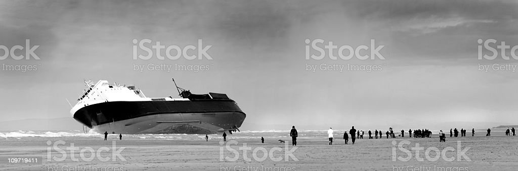 Shipwreck, North Shore, Blackpool Beach, Lancashire, England stock photo