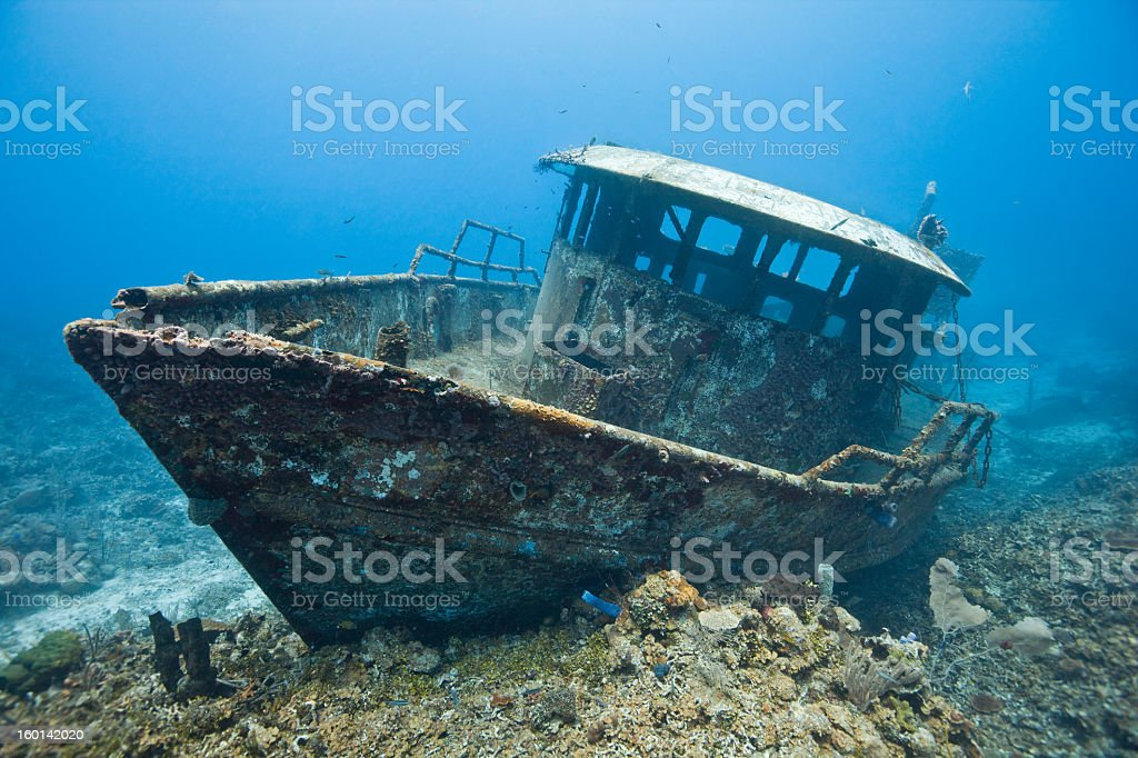 A shipwreck of the boat Mr. Bud stock photo