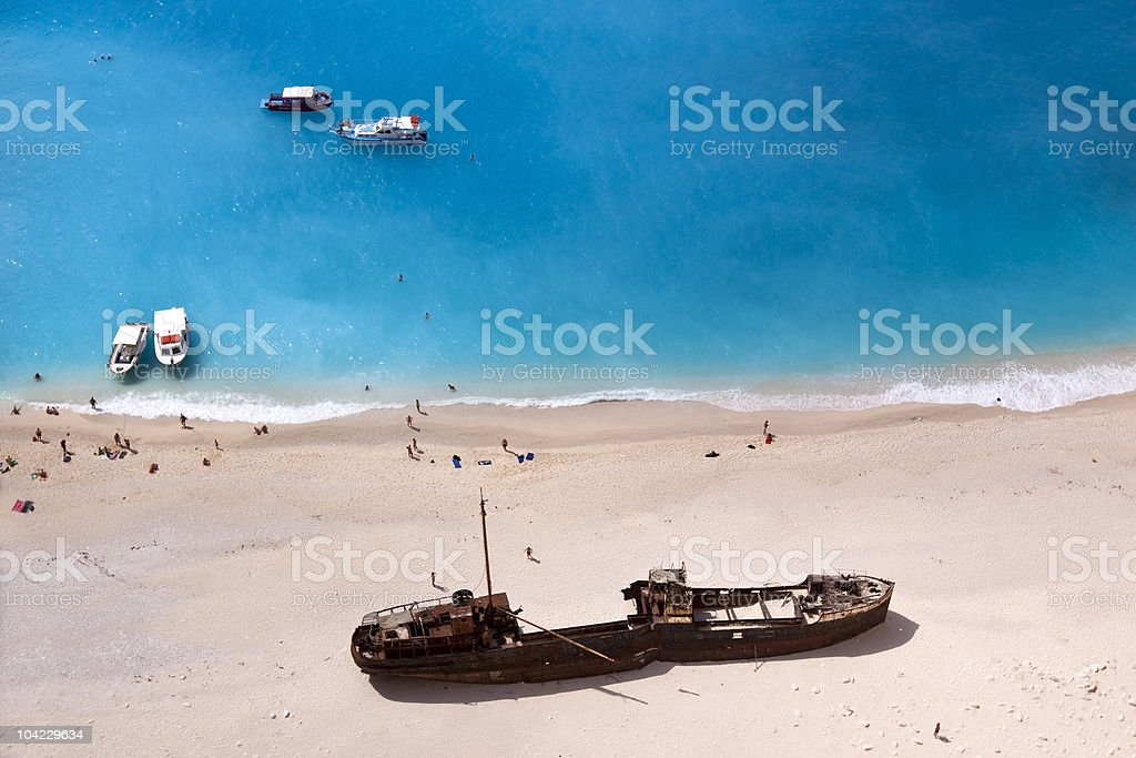 Shipwreck of the Navagio Beach royalty-free stock photo