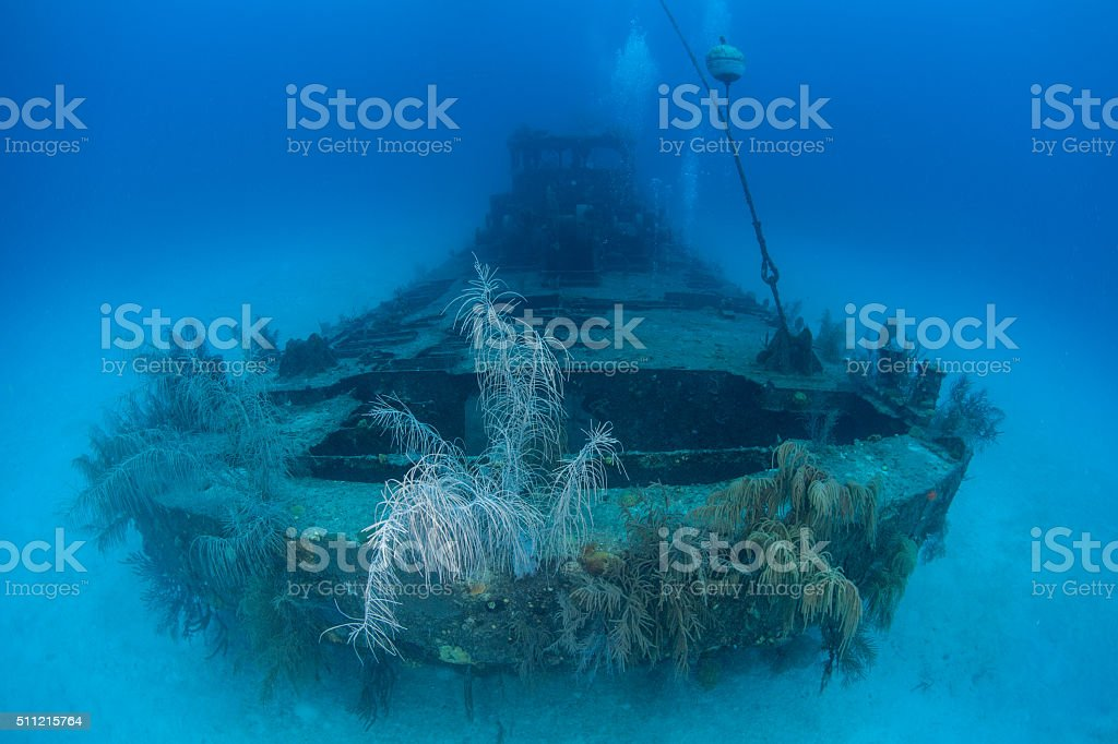 Shipwreck off Grand Cayman stock photo