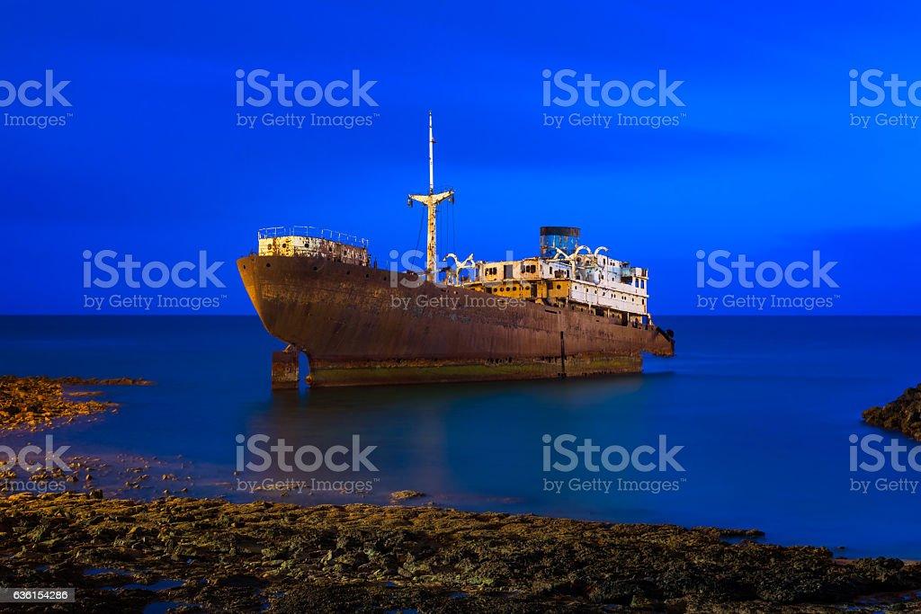 Shipwreck off the coast of Arrecife Lanzarote stock photo