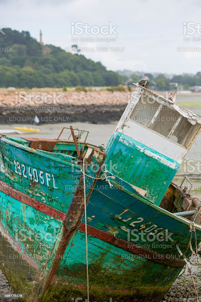Shipwreck on a beach in Paimpol stock photo