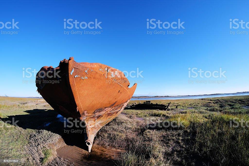 Shipwreck on Lancashire Coast stock photo