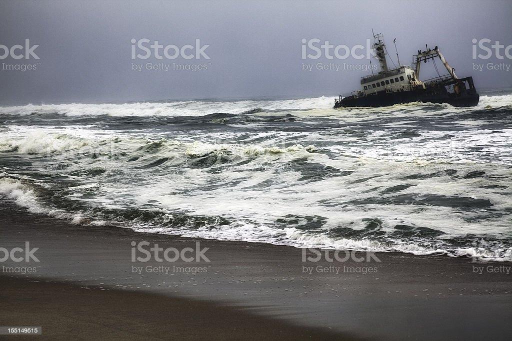 Shipwreck on Skeleton Coast, Namibia royalty-free stock photo