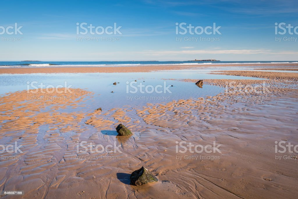 Shipwreck remains on Bamburgh Beach stock photo