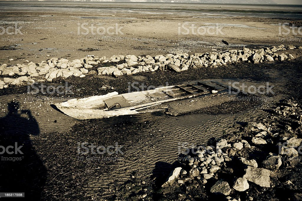 Shipwreck restng on seabed royalty-free stock photo