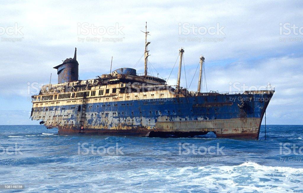 shipwrecked ocean liner stock photo