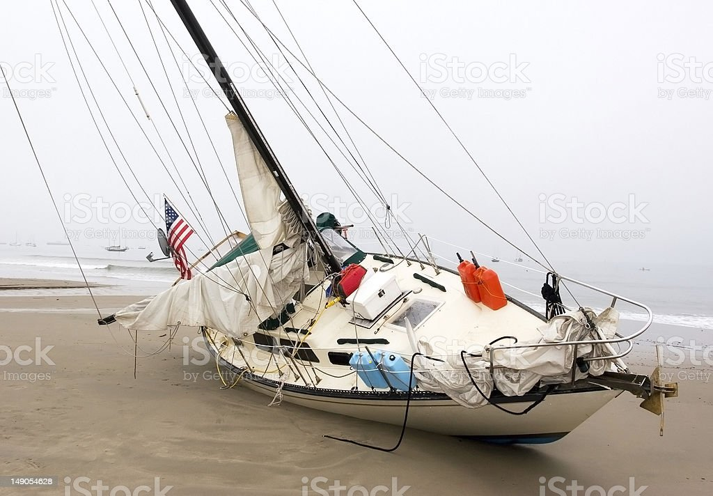 Shipwrecked Sailboat stock photo