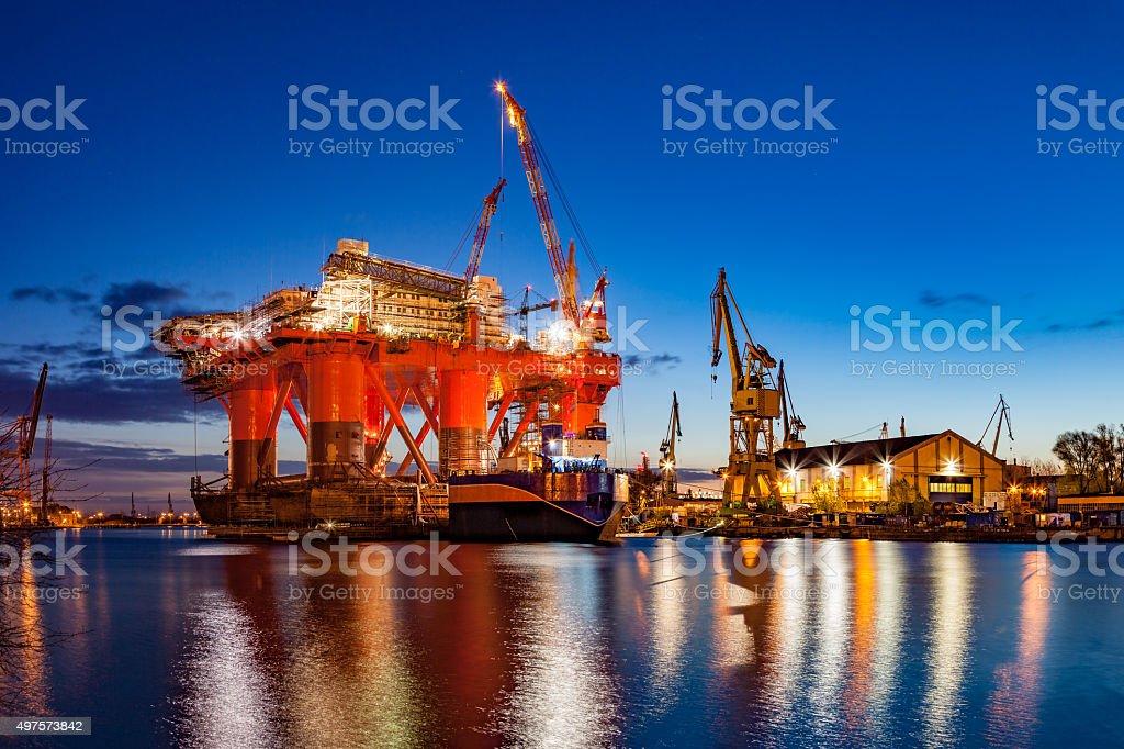 Shipyard at night stock photo