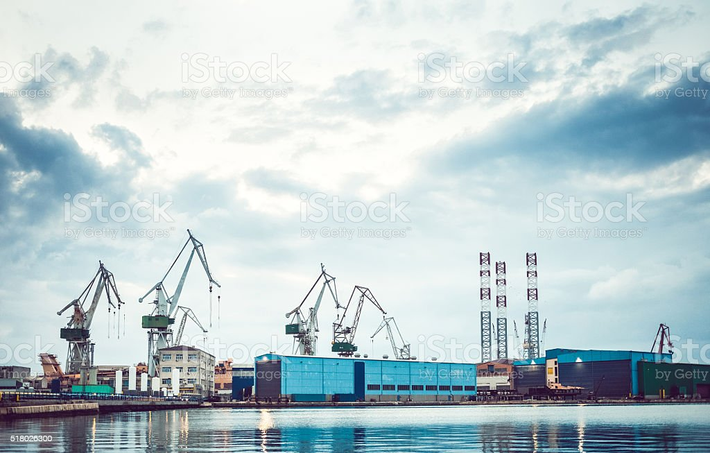 Shipyard at the seaside stock photo