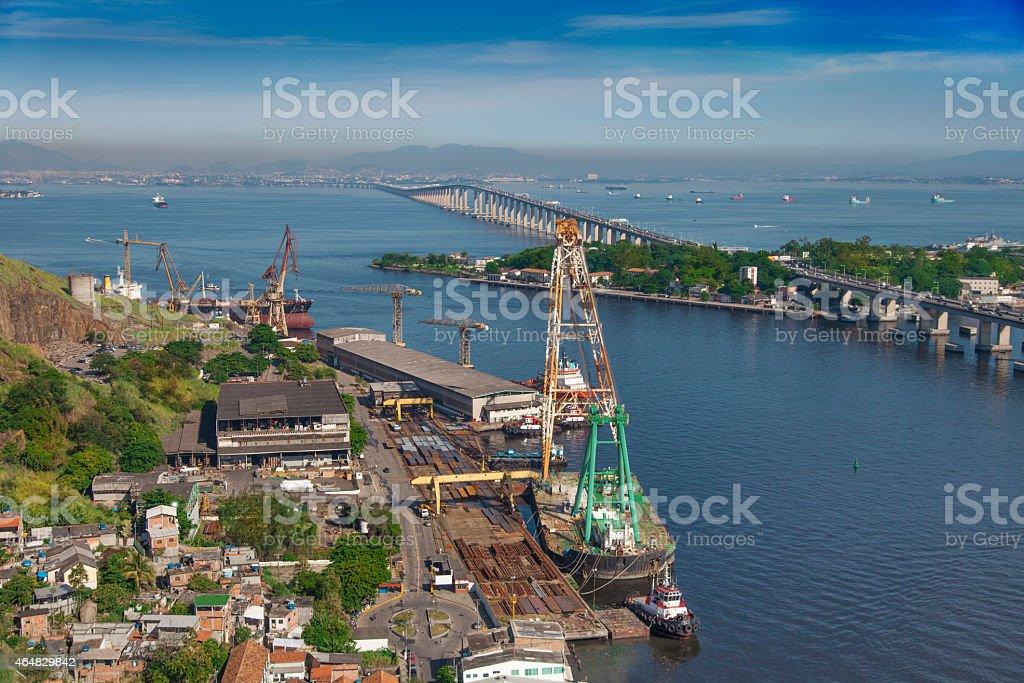Shipyard in Niteroi city stock photo
