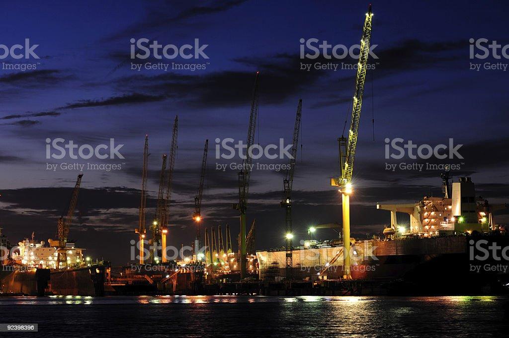 Shipyard in Singapore at night royalty-free stock photo