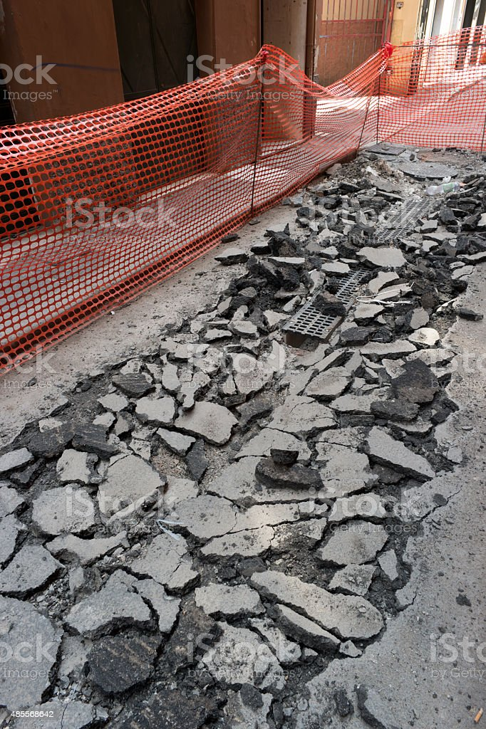 Shipyard rebuilding pavement royalty-free stock photo