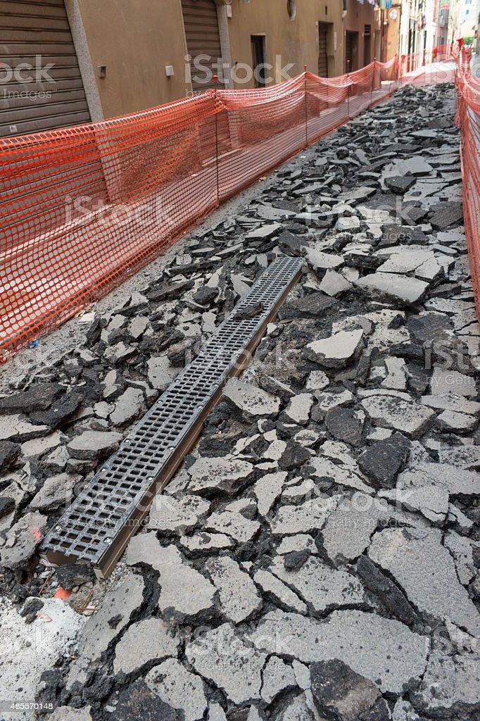 Shipyard rebuilding pavement royalty-free stock photo