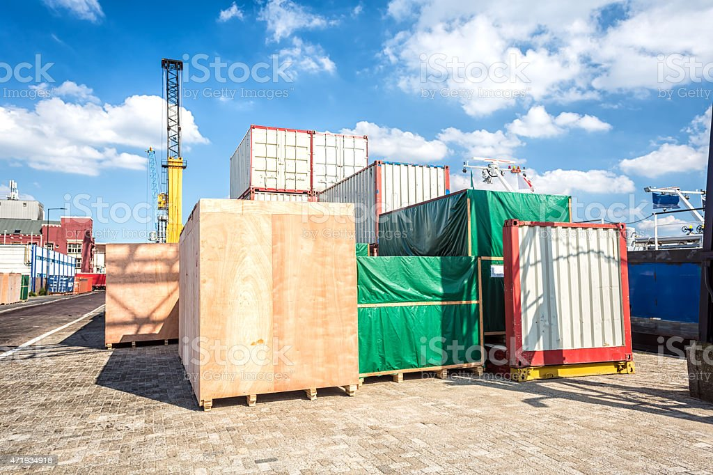 Shipyard with container stock photo