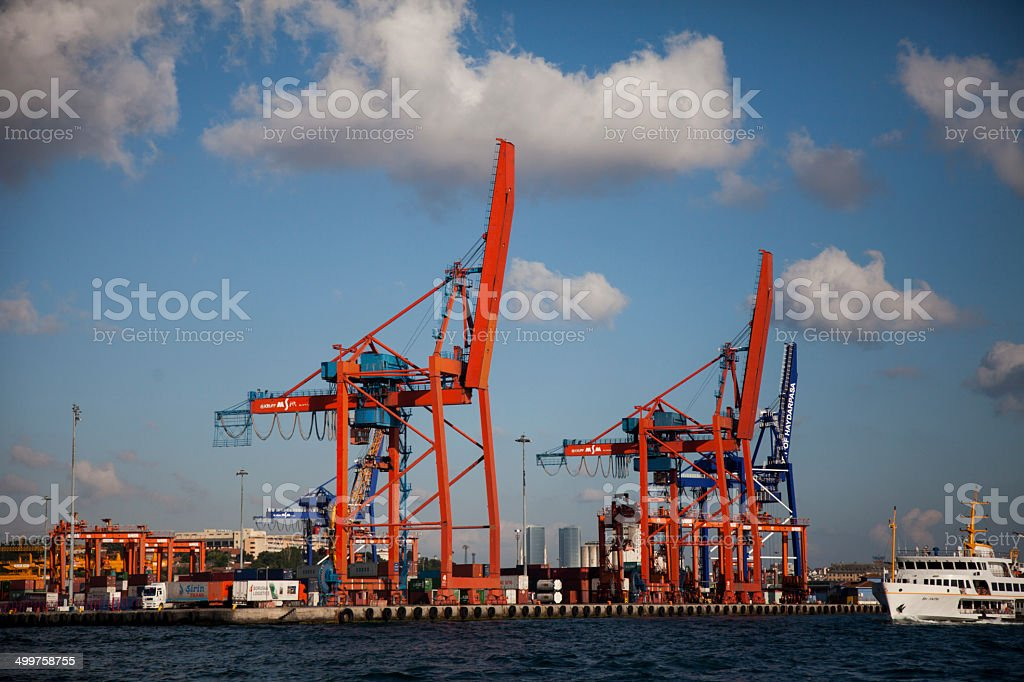 Shipyards and crane stock photo
