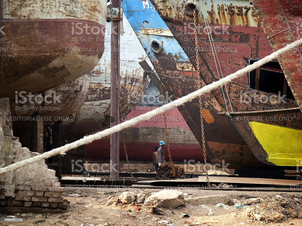Shipyards on the banks of Buriganga river, Dhaka Bangladesh royalty-free stock photo
