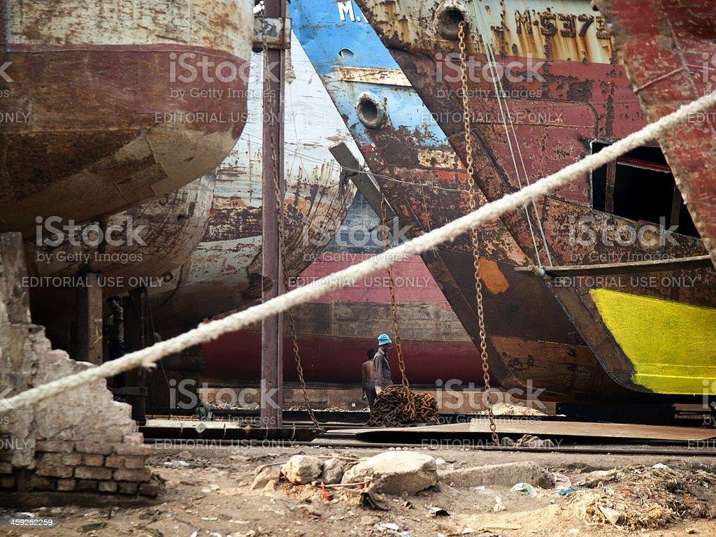 Shipyards on the banks of Buriganga river, Dhaka Bangladesh stock photo