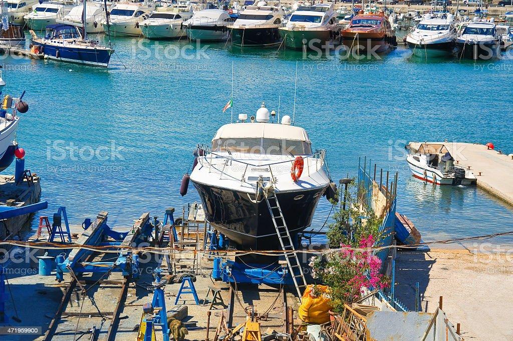 Shipyards. Trani. Puglia. Italy. stock photo