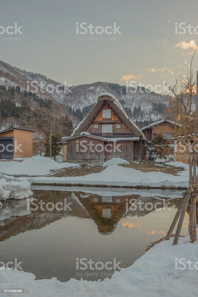 Shirakawa go historic Japanese village before sunset in winter stock photo