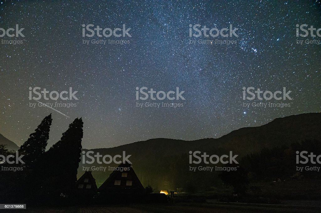 Shirakawa-go and Orionid meteor shower stock photo